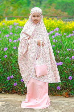 Telekung Khayla in Vintage Flowers Peach