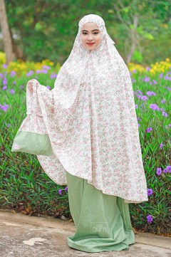 Telekung Khaysara in Vintage Flowers Green