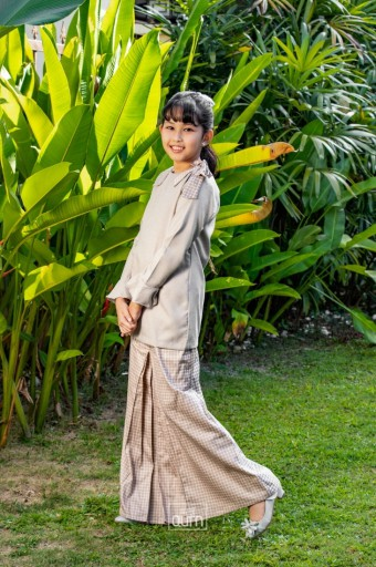 Haneez Kurung in Latte Brown