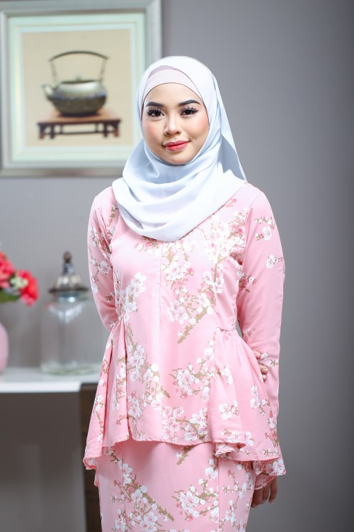 Cherry Blossom Kurung in Sugar Peach
