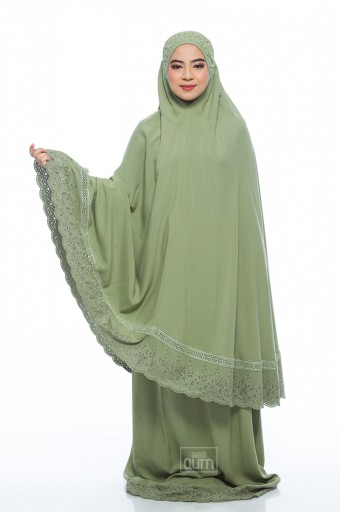 Telekung Safiyya Premium in Lime Green
