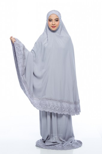Telekung Safiyya Premium in Light Grey