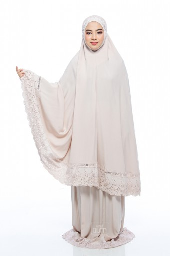 Telekung Safiyya Premium in Ivory Brown