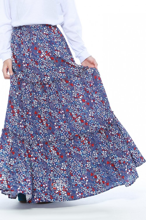 Tiered Maxi Skirt in Colorful Blue