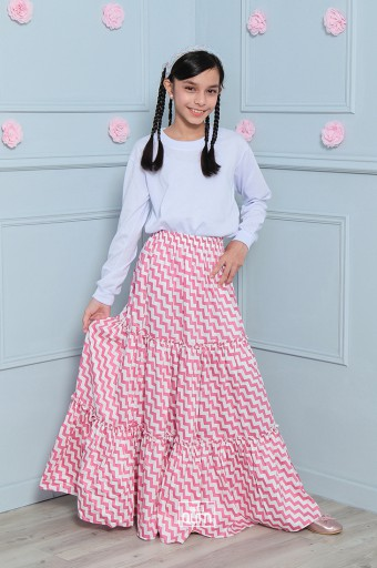 Chevron Tiered Skirt in Pink