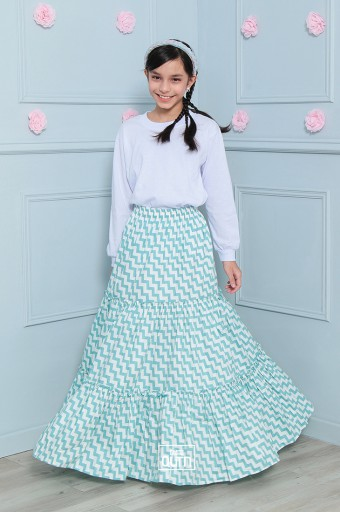 Chevron Tiered Skirt in Turquoise