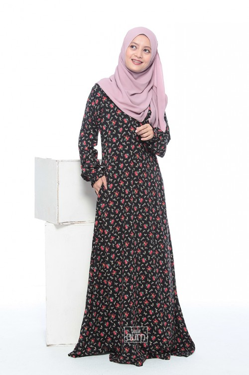 Jubah Lily in Black Flowery Red