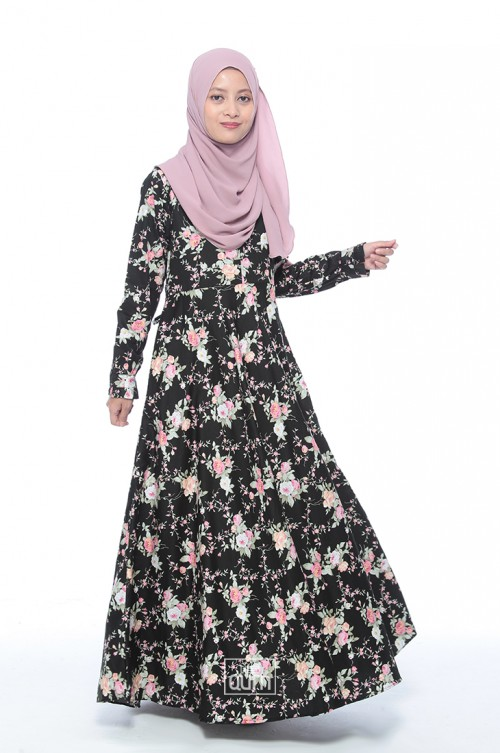 Ella Dress in Black Pink Flower