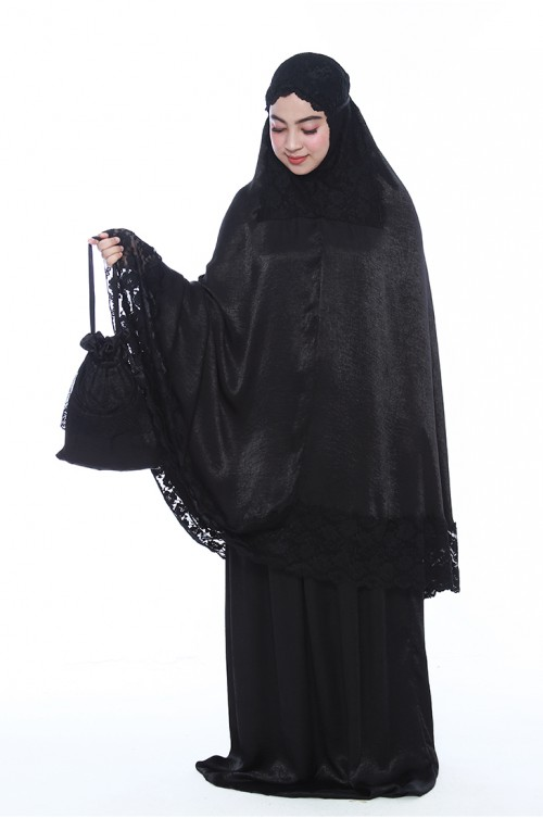 Satin Lace Telekung in Black