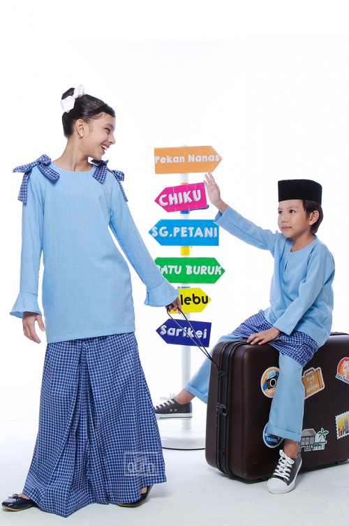 Haneez Kurung in Sky Blue