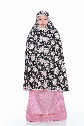 Telekung Khayla in Black & Rose Pink