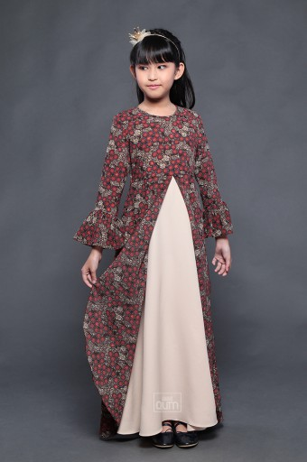 Tiara Dress in Brown Red