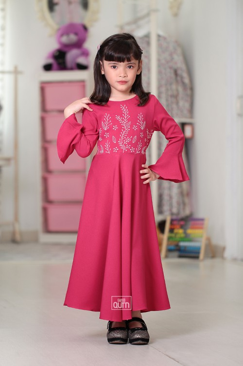 Camilla Embroidery Dress in Fuchsia Pink