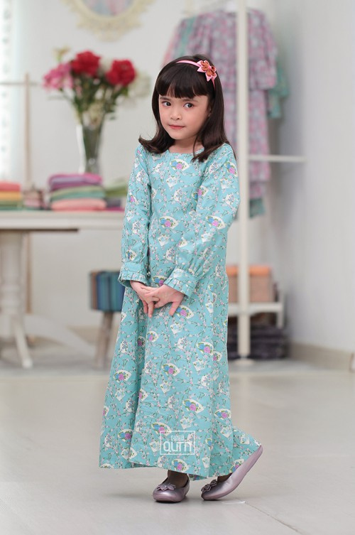 Jubah Lily Kids in Turquoise