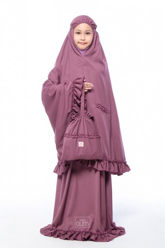 Telekung Ruffles in Plum Purple