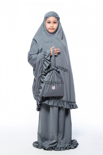 Telekung Ruffles in Charcoal Grey