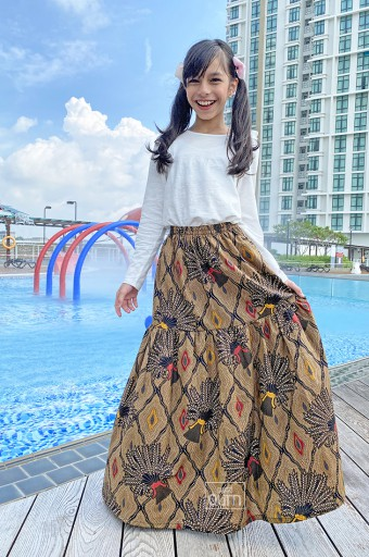 Batik Flare Skirt in Black Maroon