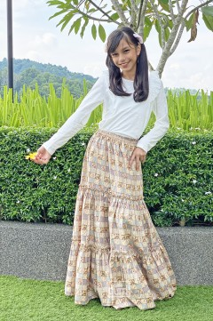 Plaid Tiered Skirt in Blue