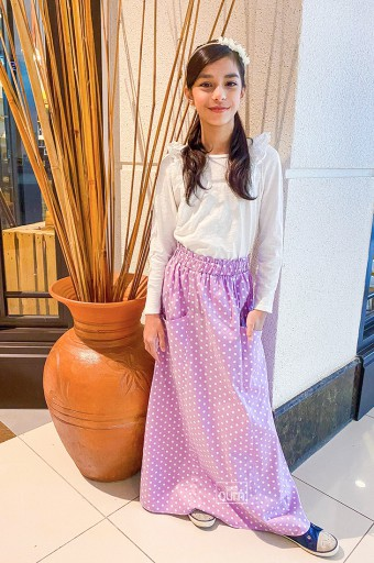 Polka Maxi Skirt in Lilac Purple