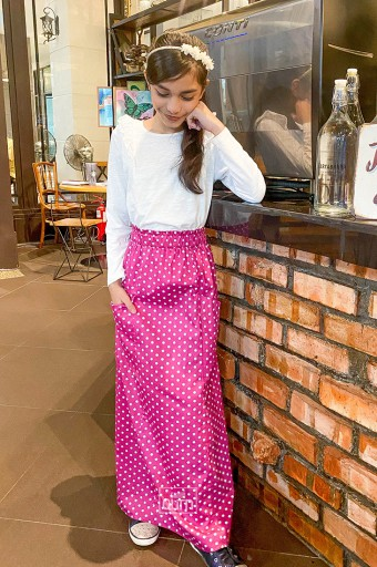 Polka Maxi Skirt in Raspberry Pink